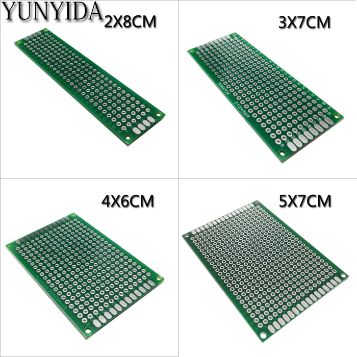 13-01 free shipping 4pcs 5x7 4x6 3x7 2x8 cm double sided Copper prototype pcb Universal Board