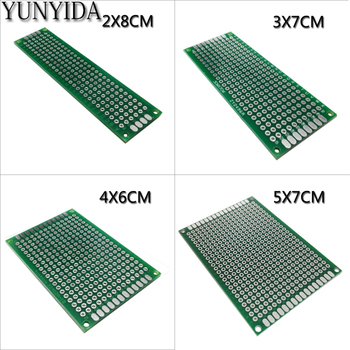 13-01 free shipping 4pcs 5x7 4x6 3x7 2x8 cm double sided Copper prototype pcb Universal Board double sided glass fiber prototyping pcb universal board 12 piece pack