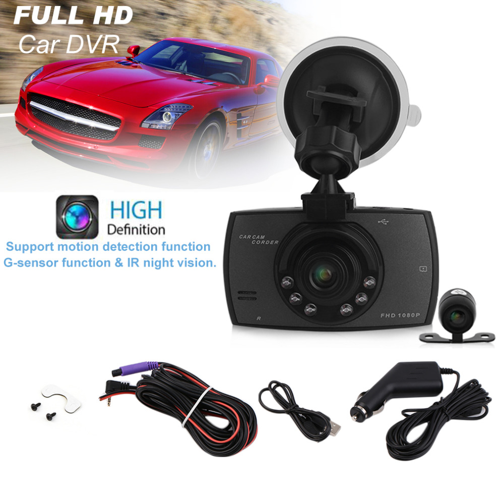 Professional 1080P 2.7 Inch HD LCD Double Lens Car Dash Camera Video DVR Cam Recorder with Night Vision G-Sensor Microphone