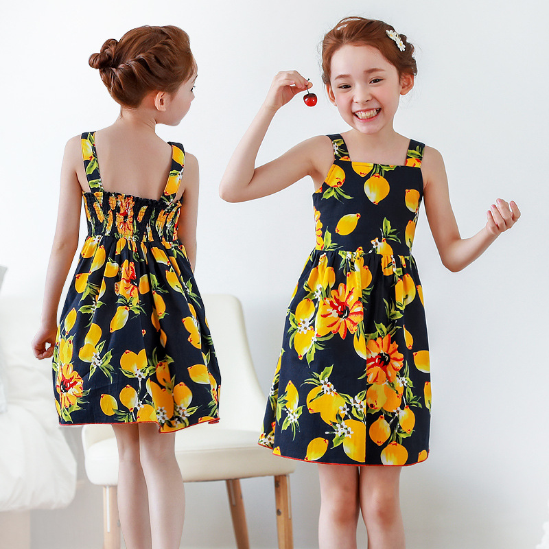 Girls Summer Dress 2017 Cotton Robe Fille flower Princess Dress Girl Costumes for Kids Party Dress with Lovely Printed Pattern flower girl dress summer style milan creations kids dresses for baby girls princess dress girls costumes robe fille enfant 2 7t