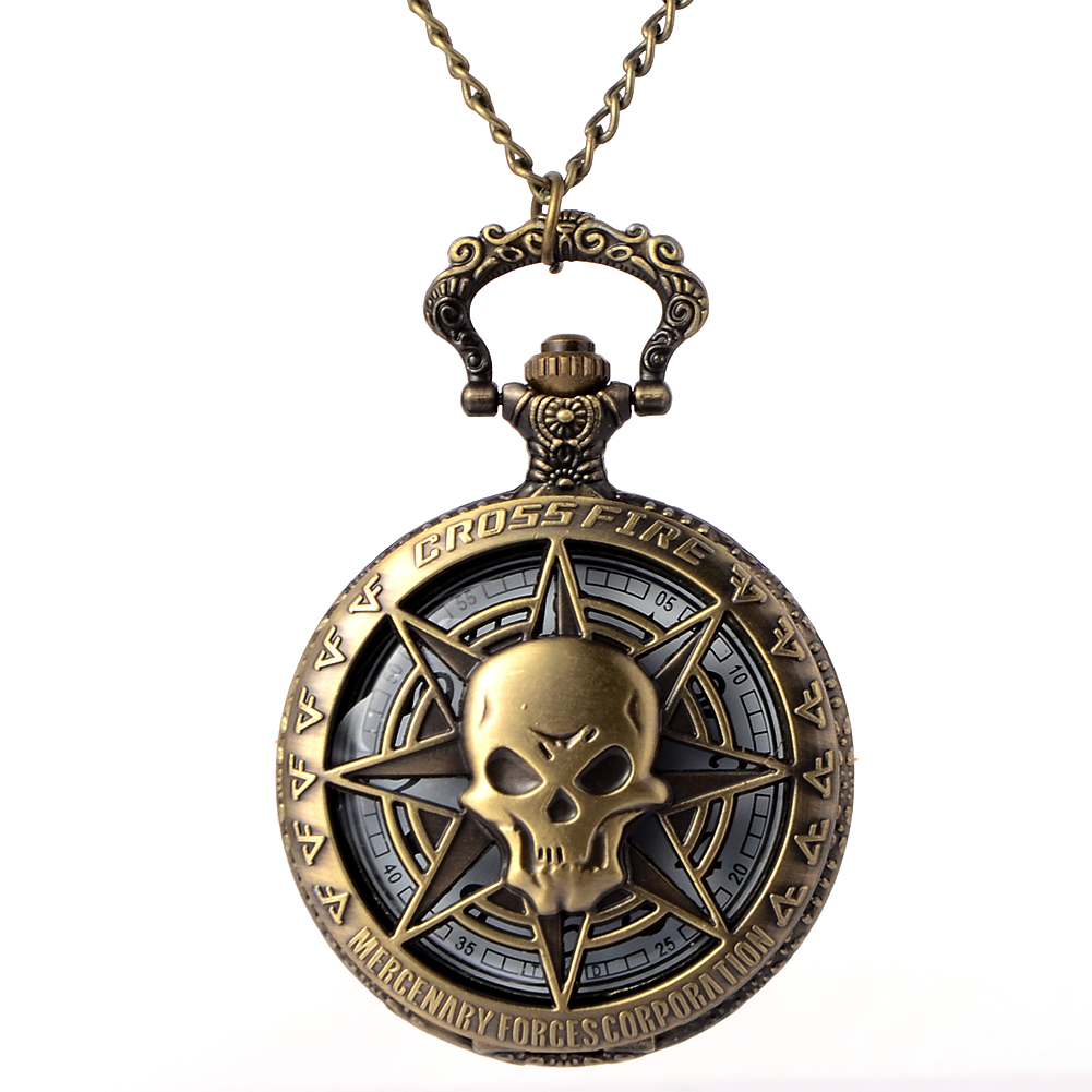 цена на Cindiry Retro Bronze Punk Hollow Carribean Pirate Skull Head Quartz Pocket Watch Pendant Chain Clock Necklace Fob Watches P0.5