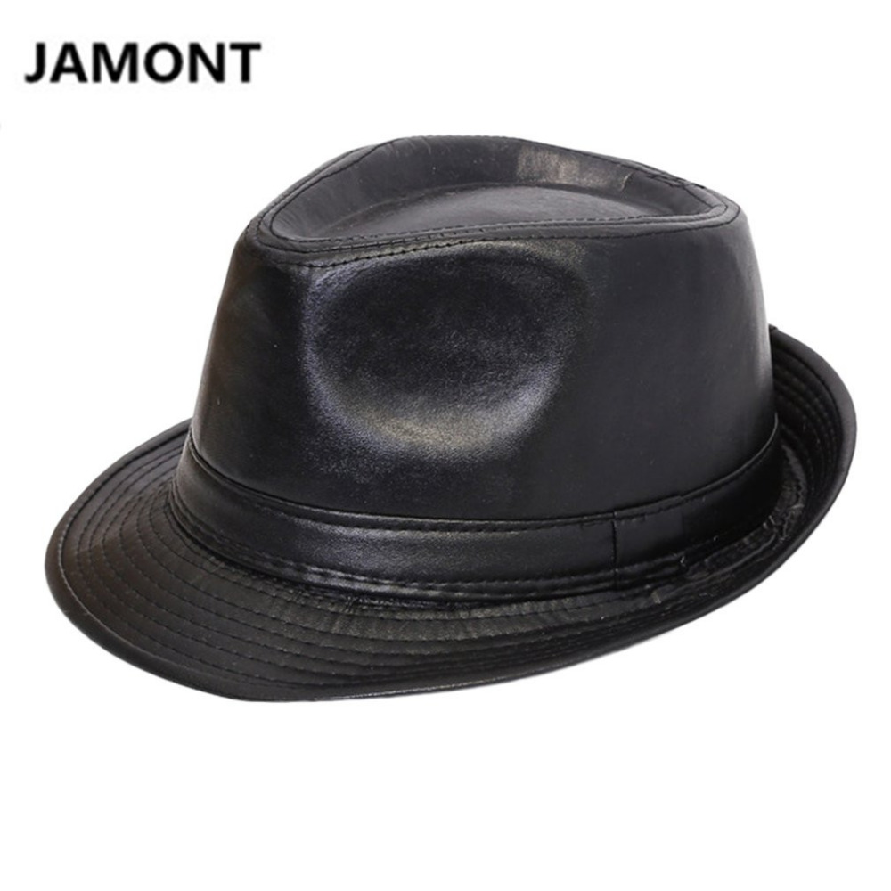 JAMONT Autumn Winter Men Women Classic PU Leather Fedora TOP Hat British Style Panama BOWLER HAT Cowboy Gentleman Casual Top Hat image