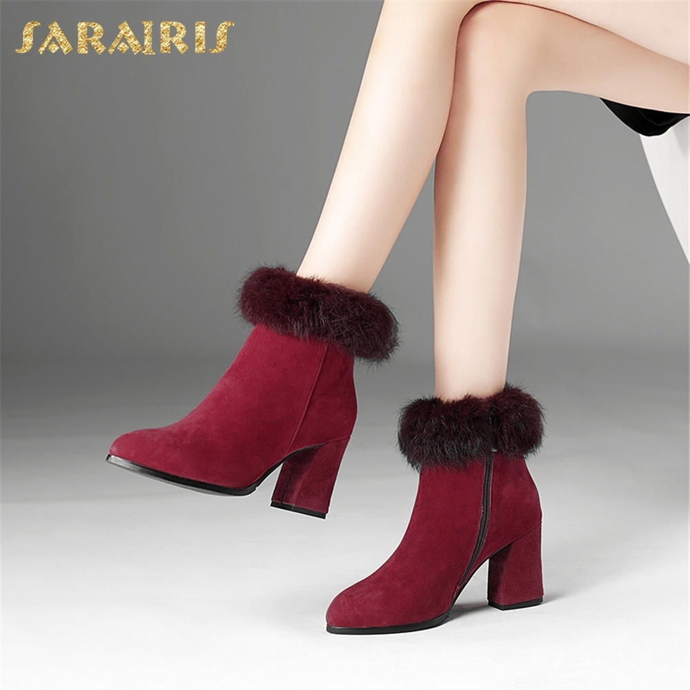 SARAIRIS 2018 Kid Suede Plus Size 33-45 Zip Up Add Fur Ankle Boots Winter Warm Shoes Woman High Heels Women Shoes sarairis 2018 plus size 33 52 zip up warm ankle boots woman shoes chunky high heels add fur winter shoes woman boots