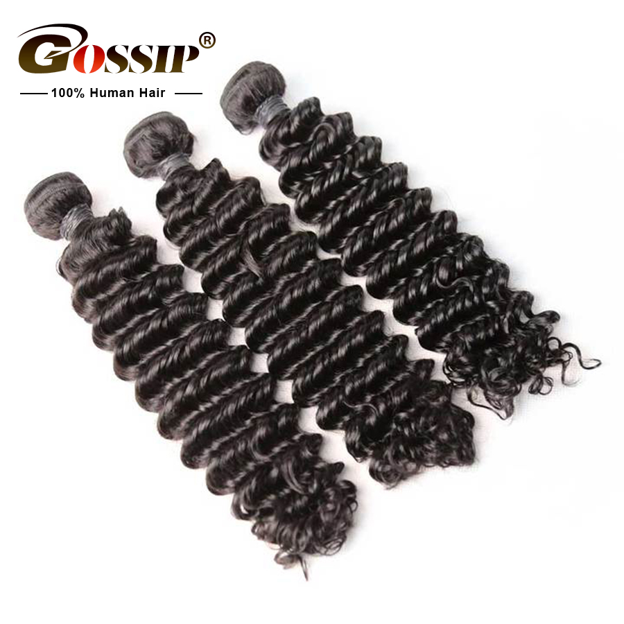 """Image 3 - Gossip Deep Wave Bundles Brazilian Hair Weave Bundles 100% Human Hair Weaves Remy Hair Extension 8"""" To 28"""" Bundles Can Be Dyed-in Hair Weaves from Hair Extensions & Wigs"""
