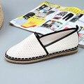 Las mujeres de Los Holgazanes Planos Zapatos De Paja de Moda los recortes de Las Mujeres Respirables Cómodos Slip-on Mujeres Pisos Alpargatas para Las Mujeres 37-41