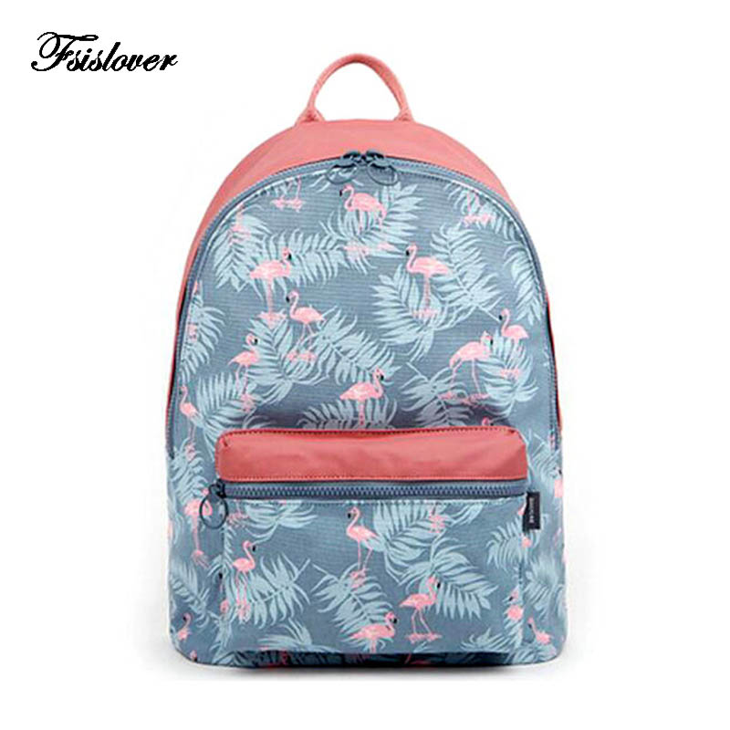 New Design Cartoon Flamingo Printing Backpack Teenage Girls School Bag Women Backpack Travel Bag Large Capacity Portable Bag цены