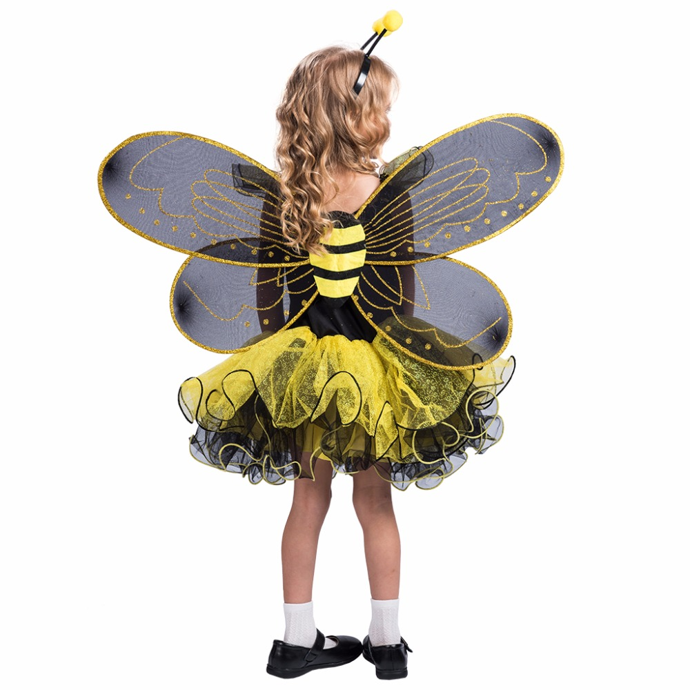2017 High Quality Yellow Dress Wings Bumble Bee Party Cosplay Animal cosplay costumes Girl Love Live Cosplay Halloween