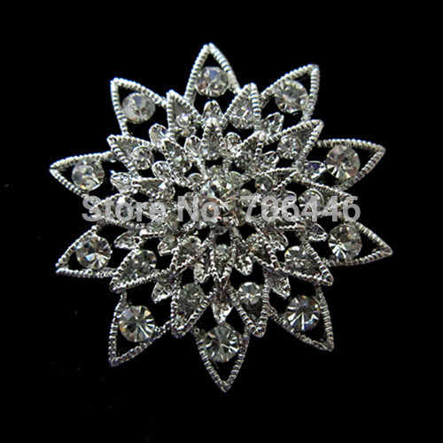 """1.6 """"Silver Rhodium Placcato Trasparente Con Strass Di Cristallo Diamante Wedding Bouquet Promenade Del Partito Del Regalo Spilla"""