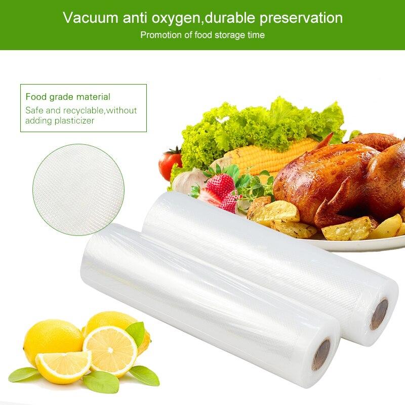 ATWFS 5 Rolls/lot Vacuum Bags for Food Vacuum Sealer Bags Packing Machine Storage Bag 12/17/20/25/28cm*500cm