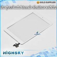 1 шт. HK бесплатная доставка 100% испытанное черный и белый для ipad mini сенсорный дигитайзер полная + home button + наклейки + инструменты