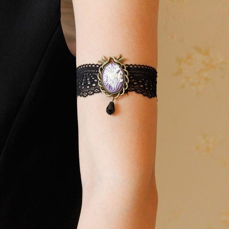 Womens Elastic Bracelet Boho Flower Black Lace Gothic Dance Party Arm Band  Lady Armlet Armband Bangle Bracelets Fashion Jewelry-in Charm Bracelets from  ... 0f45a2f9b549