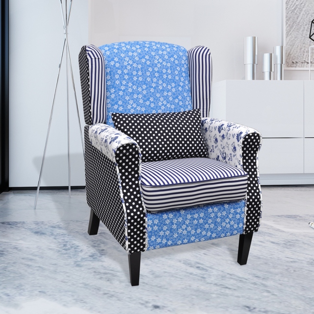 living es sofa fold out bed mechanism ikayaa relaxation armchair patchwork blue white flower pastoralism single for home room stock