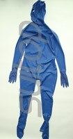 Полное тело крышка комбинезон из латекса резиновая Зентаи с задней молнией на ниже животы 3 молнии Перчатки, носки и капюшоны attahced в синий