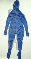 Full cover body latex catsuit rubber zentai with back zip to lower abdomens 3 zippers gloves, socks and hoods attahced in blue
