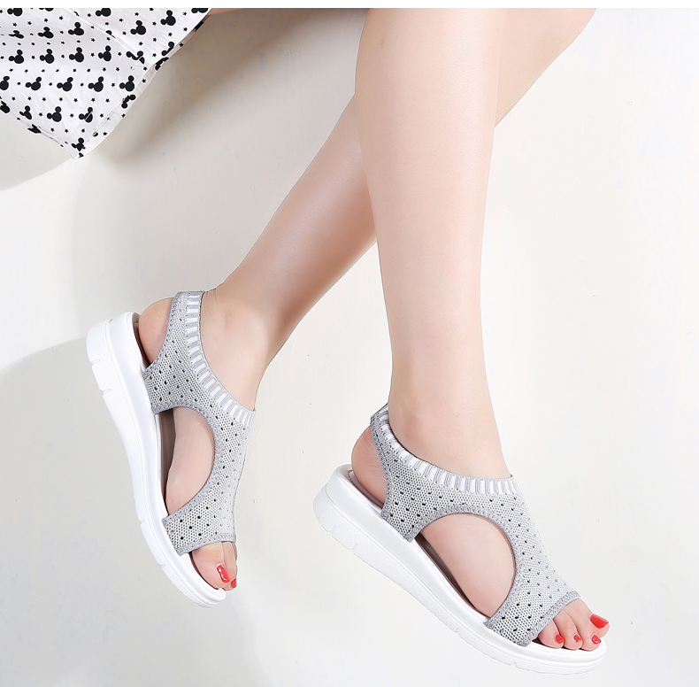 HTB1mb7PLMHqK1RjSZFPq6AwapXax - Sandals Women Fashion Breathable Comfort Ladies Sandals Summer Shoes wedge Black White Sandal