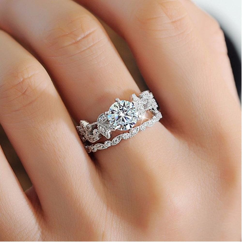 90 Off Bamos Female White Round Ring Set Luxury 925 Silver Ring