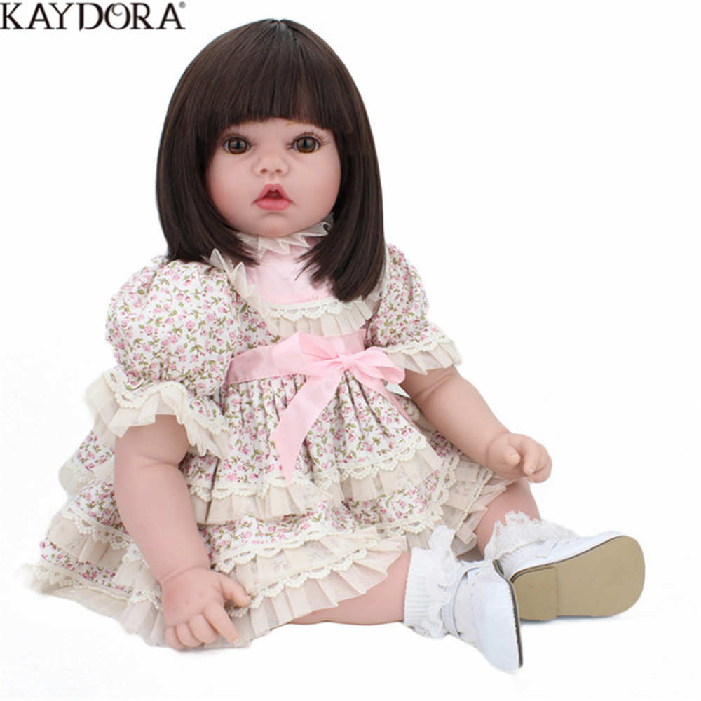 KAYDORA 55cm Baby Reborn Realisting Silicon Body With Long Hair Outdoor Toys For Children Stuffed Doll