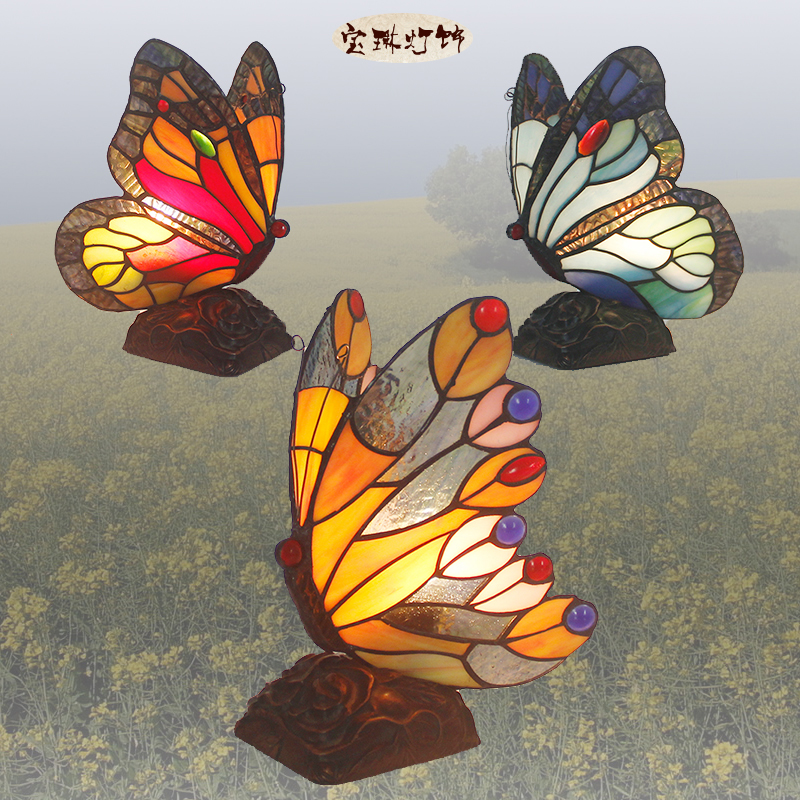 European style living room bedroom decoration table lamp bedside lamp Home Furnishing butterfly hand woven