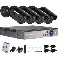 DEFEWAY 4CH 720P Output DVR Waterproof 1200TVL Night Vision Camera CCTV System Surveillance Kits With Emergency Battery 2017 New
