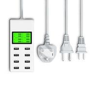 Phổ 8 USB Port Display Port Màn Hình MỸ EU ANH Cắm Du Lịch AC Power Adapter Ổ Cắm Thông Minh Tường Sạc Cho Điện Thoại Di Động Tablet máy ảnh