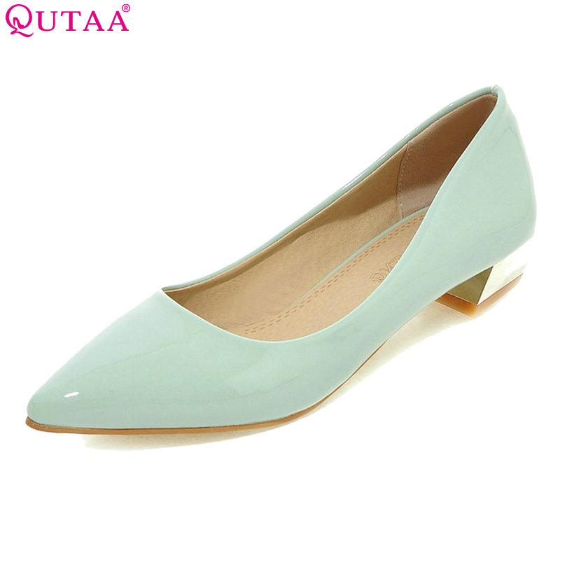 2017 Summer Ladies Summer Shoes Pointed Toe Square Med Heel Woman Pumps PU Leather Blue Black Women Wedding Shoes Size 34-43 plus size 11 12 black pointed toe wedding women shoes summer office ladies work shoes thin high heel pu leather woman pumps