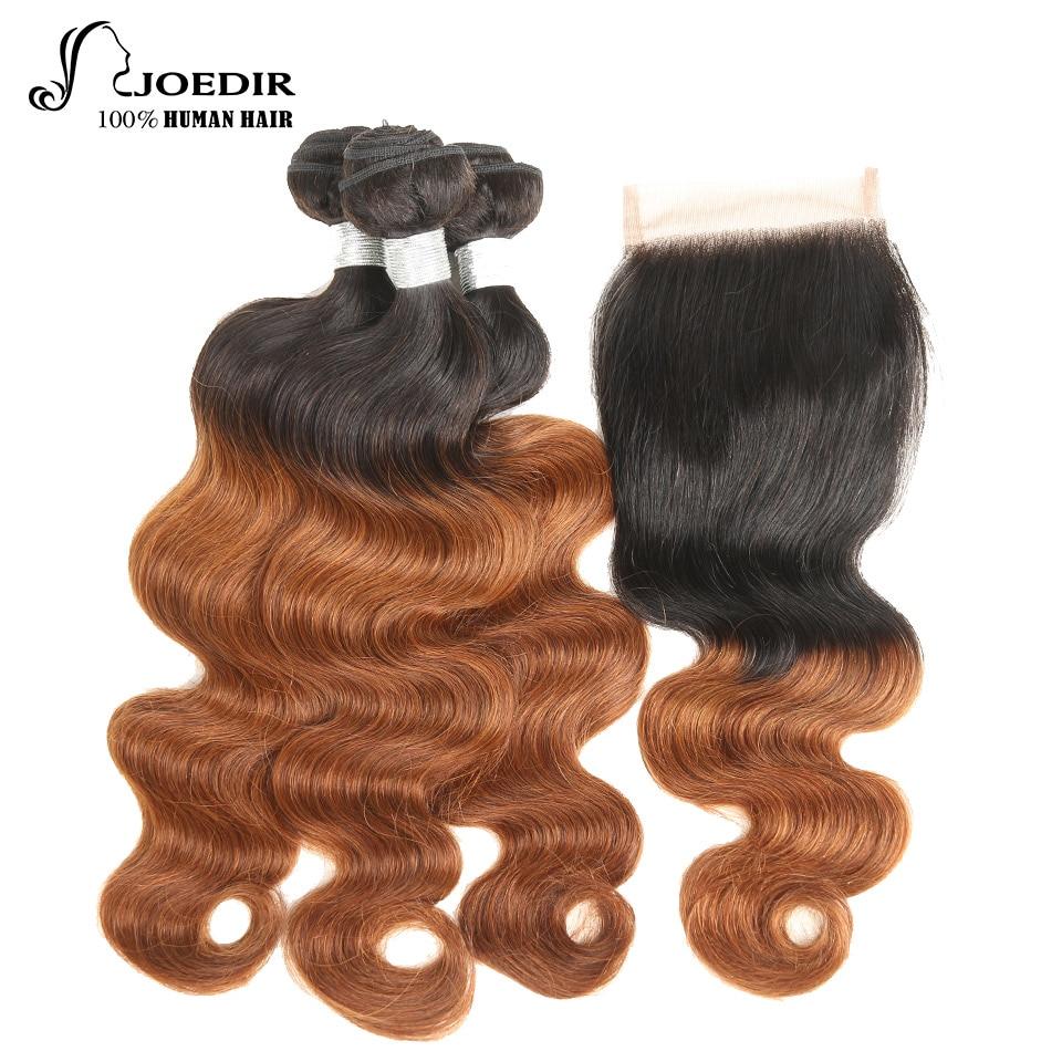 Joedir Ombre Brazilian Human Hair Weave 3 Bundles Body Wave With Closure 1B/30 4x4 Free Part Lace Closure Remy Hair Free Ship