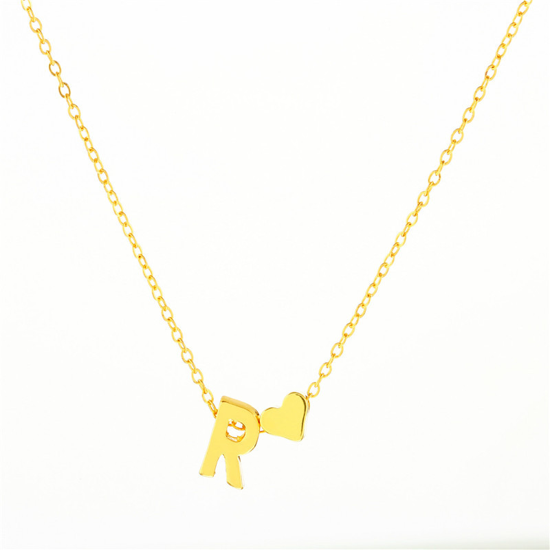 Trendy Cute Tiny Dainty Heart Initial Necklace Woman Girls Name Letter Choker Necklace Jewelry