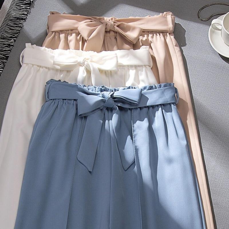 Women Chiffon   Pants   2019 Summer   Wide     Legged     Pants   High Waist Solid Color Loose   Pant   Leisure Beach Trouser Pantalon Mujer