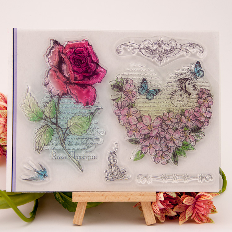 ROSE Flower clear stamp Design Transparent Stamps DIY Scrapbooking/Card Making/Christmas Decoration Supplies photo cards seal 30 pcs lot christmas decoration christmas tree postcard landscape greeting card christmas card birthday card message gift cards