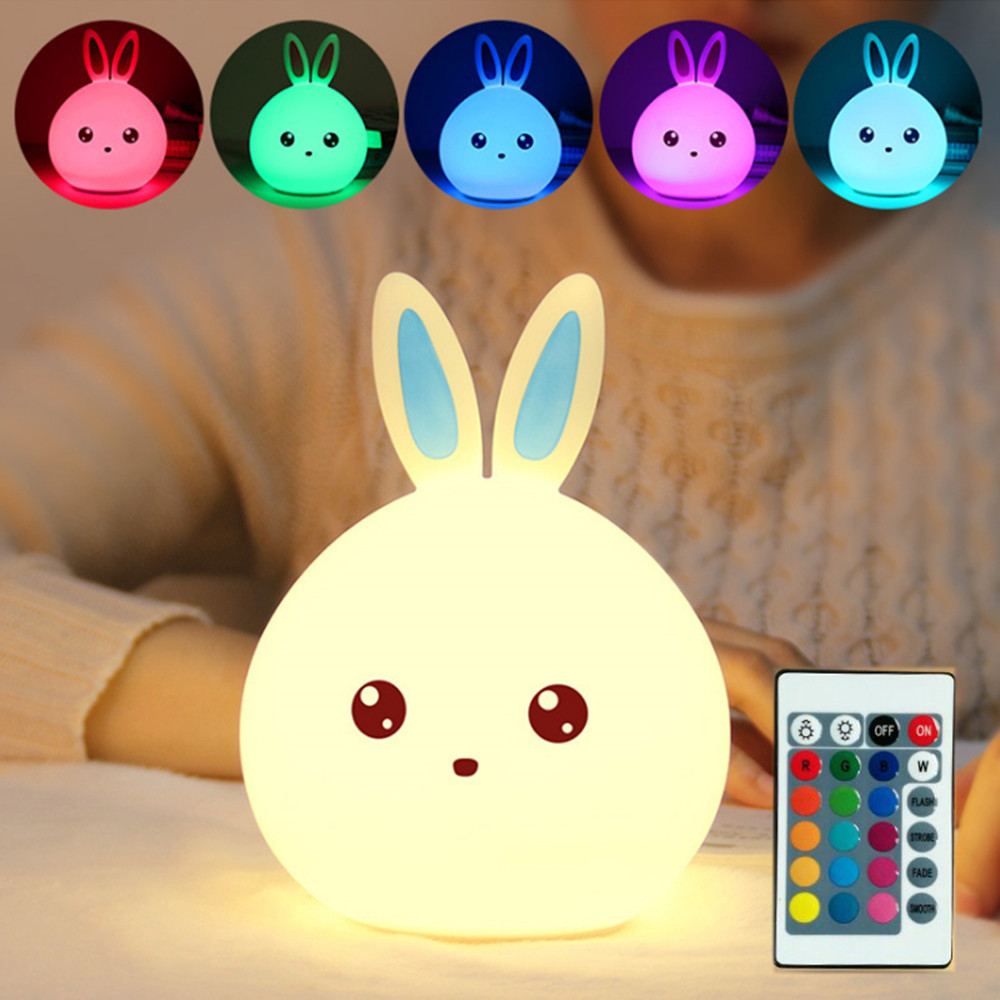 Touch Sensor Colorful LED Rabbit Night Light Remote Control Silicone Bunny USB Charging Bedroom Bedside Lamp For Children Baby