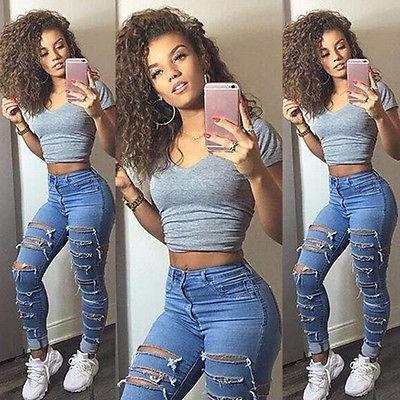 US Stock Women Denim Ripped Pants High Waist Stretch Jeans Slim Pencil Trousers
