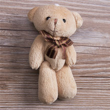 Lovely Plush Scarf Brown Teddy Bear Stuffed Animal Soft Toys 12CM For Bouquet Plush Animals(China)