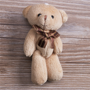 Lovely Plush Scarf Brown Teddy Bear Stuffed Animal Soft Toys 12CM For Bouquet Plush Animals