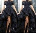 2017 black lace off-ombro alta baixa prom dress sexy vestido de festa árabe design ruched formal vestido de noite frente curta