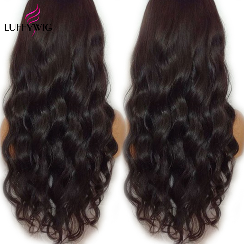 LUFFYHAIR Hot Sale Peruvian Non-Remy Hair Wavy Lace Front Wig 130% Density Human Hair 13x6 Front Lace Wigs Baby Hair Hairline