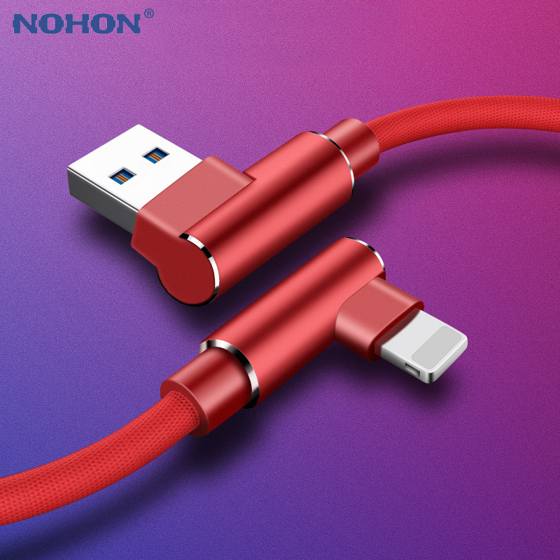 1m 2m 3m Fast USB Charger Cable For iPhone X XR Xs 11 Pro Max 6 6s 7 8 Plus 5s SE iPad Mobile Phone 90 Degree Charging Data Cord(China)