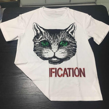 Fashion Design Green Eyes Cat Printed 2018 New Collection Summer Lady Female T -Shirt Women Casual Tops Fast Shipping