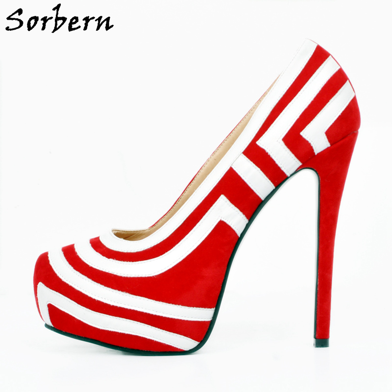 Sorbern Women Pumps High Heels Slip On Plus Size Ladies Party Shoes Pump Real Image Seyx Pumps SHoes Hakken Maat 45 orange pointed toe pump women shoes sexy slip on women pumps real image thin high heels ol pump shoes large size 8 heels