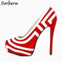 Sorbern Women Pumps High Heels Slip On Plus Size Ladies Party Shoes Pump Real Image Seyx Pumps SHoes Hakken Maat 45