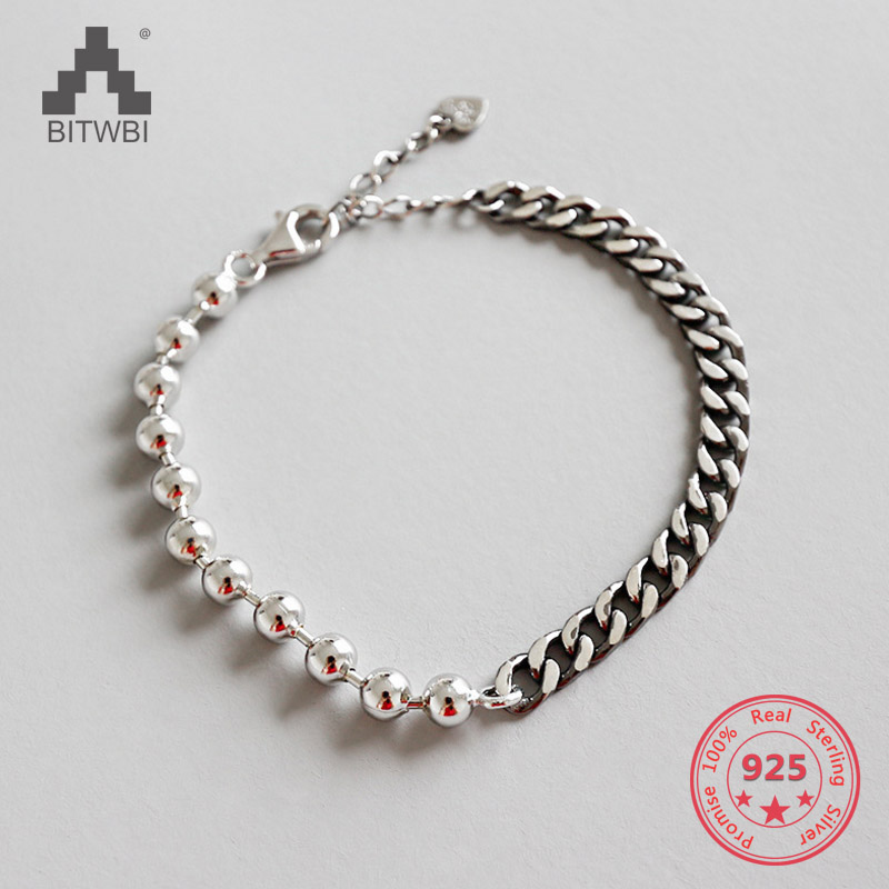 925 Sterling Silver Jewelry Round Beads Chic Bracelet Flat Chain Bracelets Paty Accessories Punk Jewelry925 Sterling Silver Jewelry Round Beads Chic Bracelet Flat Chain Bracelets Paty Accessories Punk Jewelry