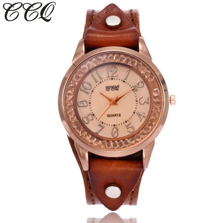 2017 Ccq Marke Frauen Strass Armbanduhren Vintage Kuh Leder Armband Uhren Uhr Geschenk Relogio Feminino Heißer Verkauf