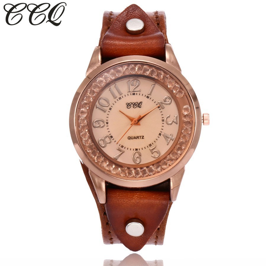 CCQ Brand Women Rhinestone Wristwatches Vintage Cow Leather Bracelet Watches Clock Gift Relogio Feminino Hot Selling vintage cow leather eiffel tower watch casual women men leather quartz wristwatches clock montre femme hot selling ccq brand