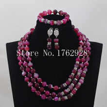 Handmade Purple crystal necklace Jewelry Set African 3 rows crystal Beads Jewelry Set Free Shipping C0001530(China)