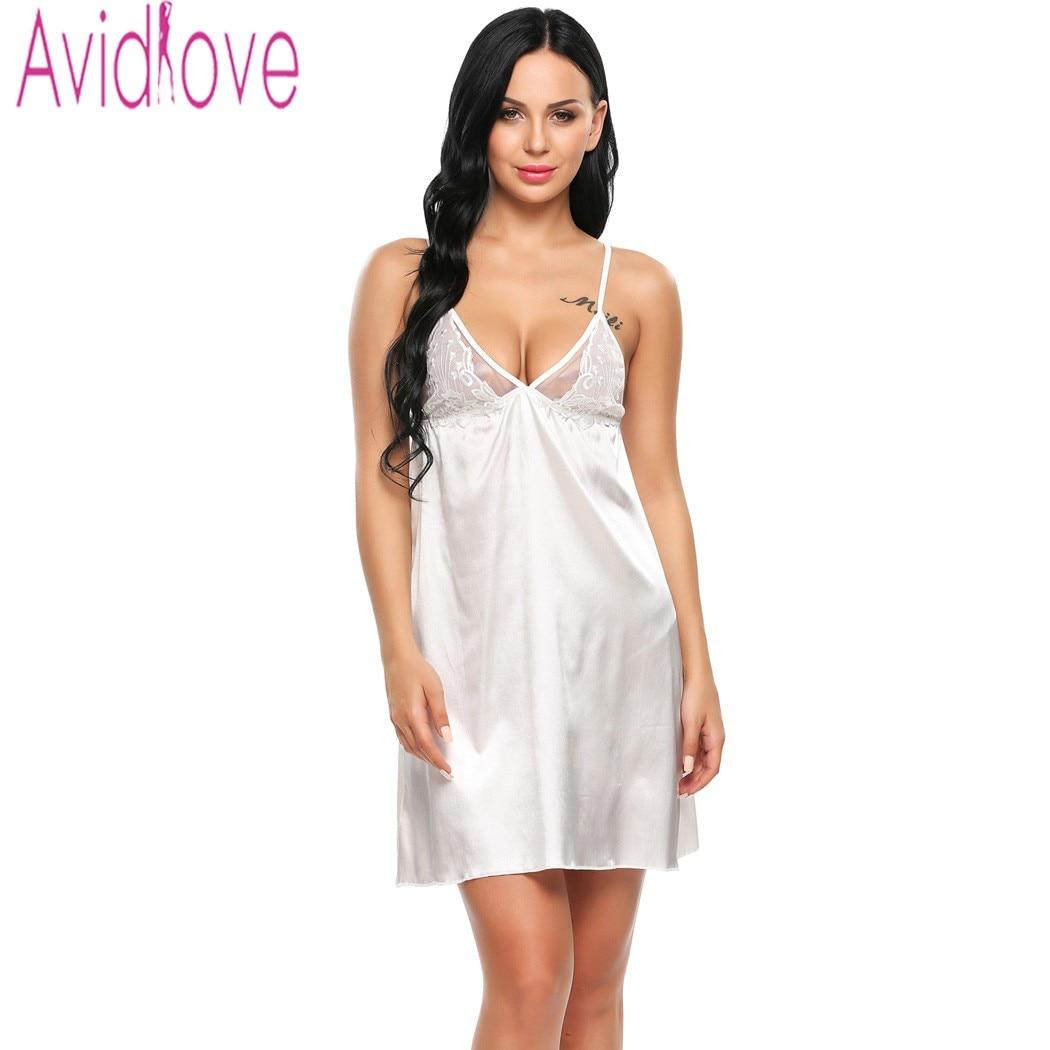 f04be0cef Avidlove New Womens Sexy Nightwear 2017 Women Sexy Lingerie Babydoll Satin  Slip Nightgown Embroidery Sleepwear Nightwear-in Babydolls   Chemises from  ...