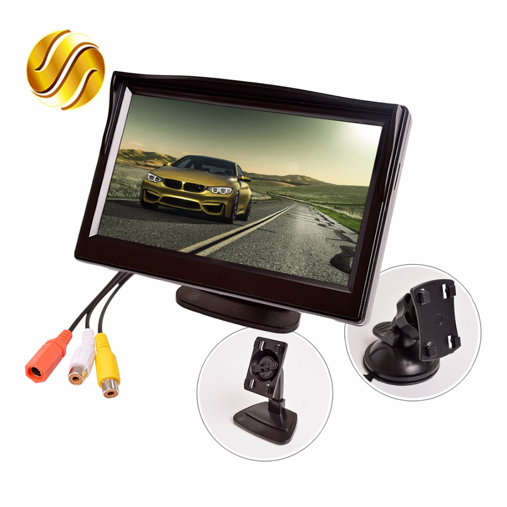 5 Car Monitor TFT LCD 5.0 Inch 800*480 16:9 Screen 2 Way Video Input HD Digital Colorful For Rear View Reverse Camera VCD DVD diykit 9 inch tft lcd car monitor display car reverse rear view monitor screen with bnc av input remote control dvd vcr