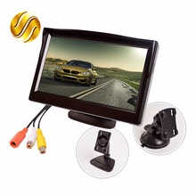 "5 ""Monitor do carro TFT LCD 5.0 Polegada 800*480 Tela 16:9 de 2 Vias Entrada de vídeo HD Digital Colorida Para Rear View Reversa Câmera VCD DVD"