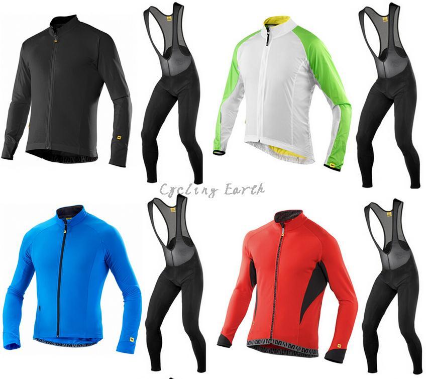 High Quality! MAVIC 2015 #1 long sleeve <font><b>autumn</b></font> bib cycling wear clothes bicycle bike cycling jersey bib pants +3D Silicone