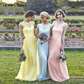 Honey Qiao Bridesmaid Dresses Blush Peach Chiffon Lace Sheer Neck Cap Sleeve Applique Cheap Vintage Maid of Honor Gowns