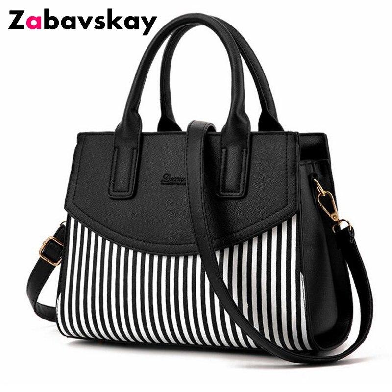 774d336615a7a Nouvelle marque Design mode femmes sac à main noir et blanc rayure sac  fourre-tout