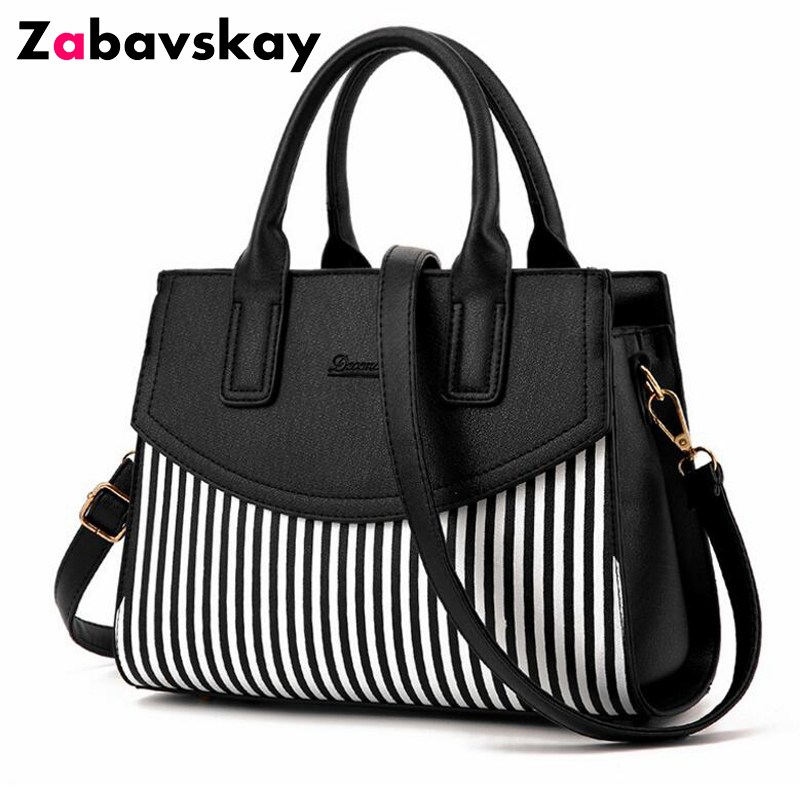 New Brand Design Fashion Women Handbag Black And White Stripe Tote Bag Female Shoulder Bags High Quality PU Leather Purse DJZ305 miwind 2017 new women handbag pu leather female bags fashion shoulder bag high quality 6 piece set designer brand bolsa feminina